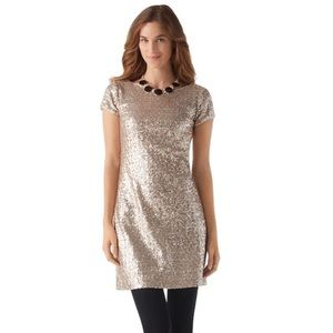 White House Black Market Gold Silver Sequin Dress